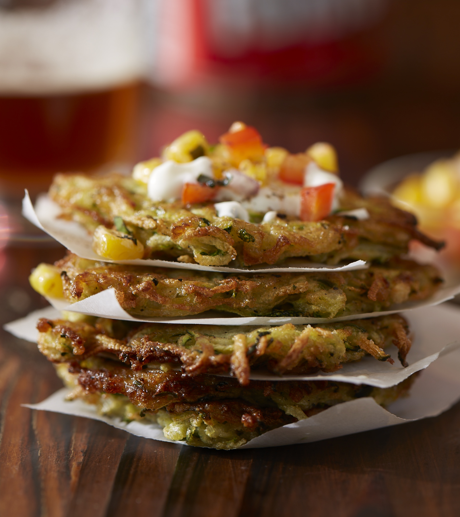 Zucchini Fritters with Succotash Salad & Cr�me Fra�che